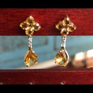 Jewelry - Citrine & diamond accent 14KYG post earrings
